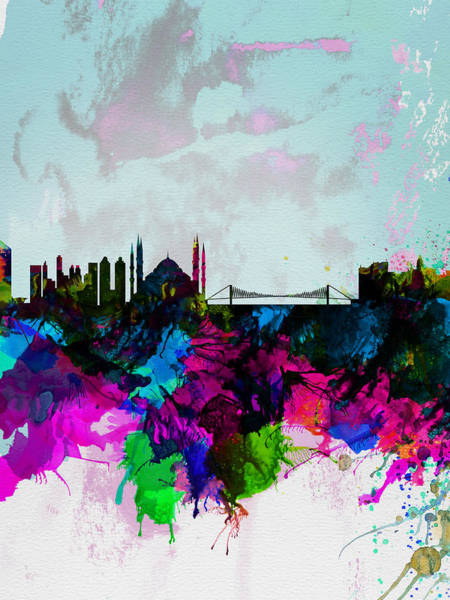 Istanbul Painting - Istanbul Watercolor Skyline by Naxart Studio