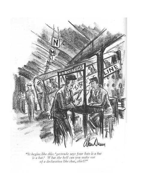 Officials Drawing - It Begins Like This: 'gertrude Says Four Hats by Alan Dunn