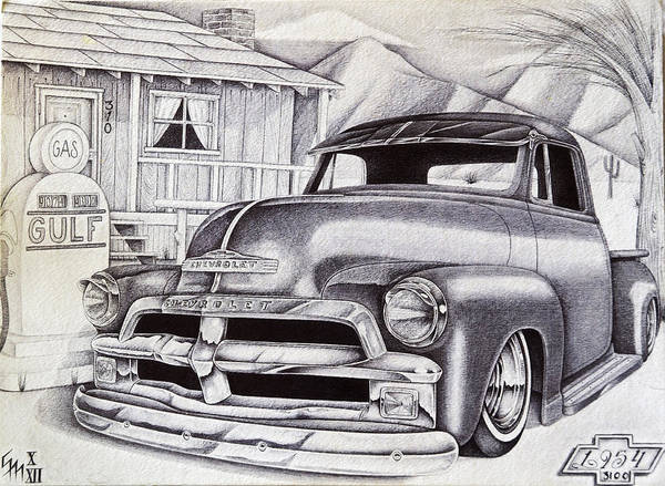 Old Chevy Truck Drawing - It Was 1954 by Omar Boke