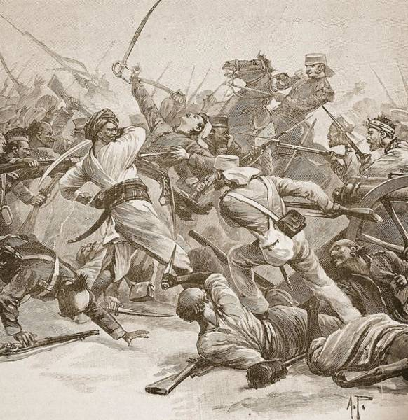 Sword Drawing - It Was Bayonet To Bayonet, Illustration by Alfred Pearse