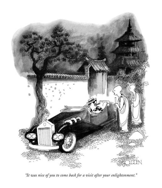 Sports Car Drawing - It Was Nice Of You To Come Back For A Visit by Richard Oldden
