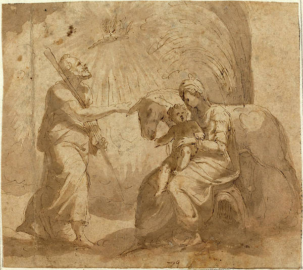 Wall Art - Drawing - Italian 16th Century, The Rest On The Flight Into Egypt by Quint Lox