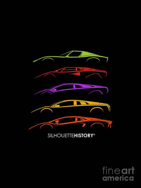 Supercars Digital Art - Italian Bulls V12 Silhouettehistory by Gabor Vida