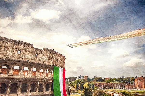 Famous Places Digital Art - Italian Flag In Rome by Stefano Senise