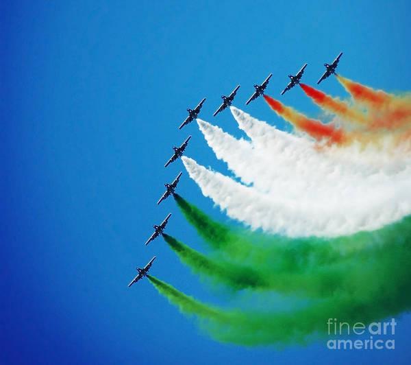 Aerobatics Wall Art - Photograph - Italian Frecce Tricolori Aerobatics Team by Stefano Senise