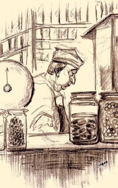 Quaint Drawing - Italian Market by Mary Fanning