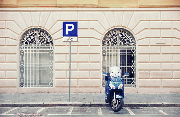 Sparse Photograph - Italian Scooter Parked On The Street by Marcoventuriniautieri