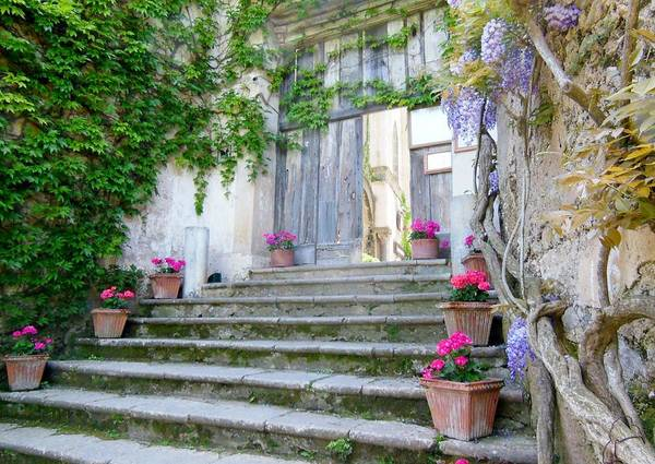 Villa Photograph - Italian Staircase With Flowers by Marilyn Dunlap