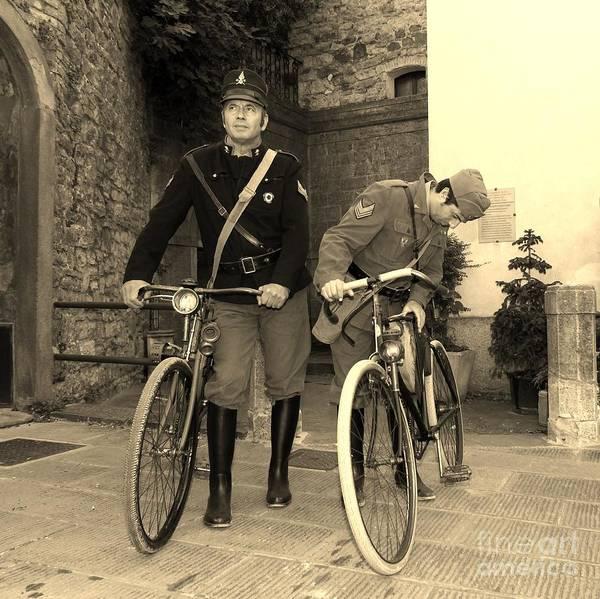 Photograph - Italian Vintage Firemen Cyclists by Fabrizio Malisan