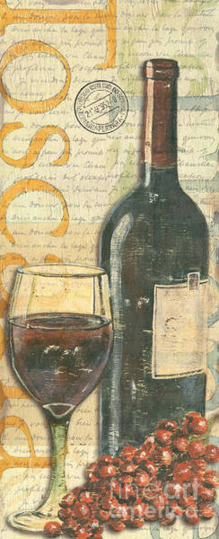 Text Wall Art - Painting - Italian Wine And Grapes by Debbie DeWitt