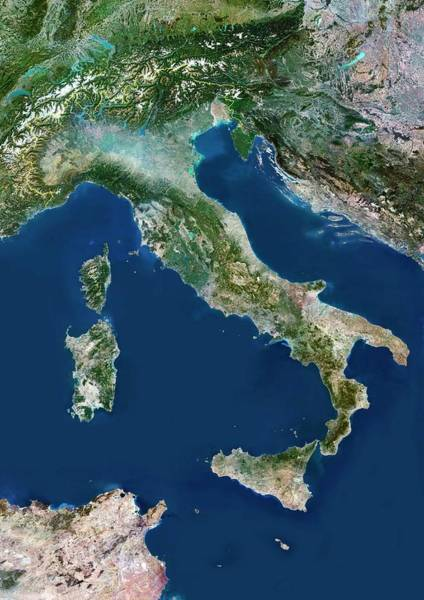 Landsat 7 Wall Art - Photograph - Italy by Planetobserver/science Photo Library