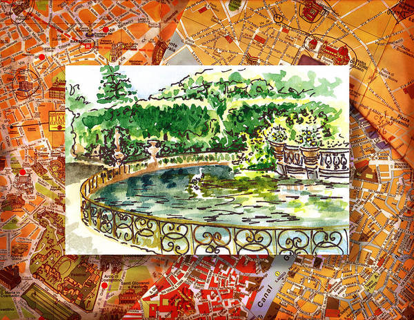 Sketching Painting - Italy Sketches Florence Boboli Gardens Of Pitti Palace by Irina Sztukowski