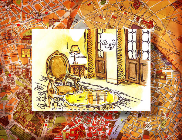 Sketching Painting - Italy Sketches Hotel Europa Regina by Irina Sztukowski
