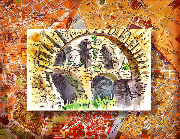 Roma Wall Art - Painting - Italy Sketches Roman Ruins Of Forum by Irina Sztukowski