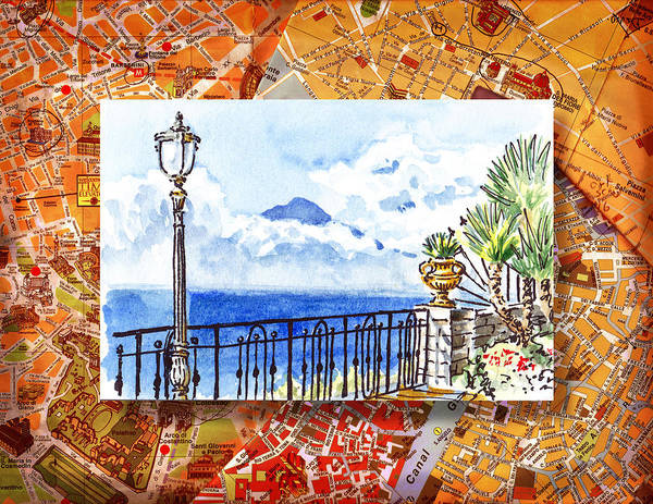 Sketch Book Wall Art - Painting - Italy Sketches Sorrento View On Volcano Vesuvius  by Irina Sztukowski
