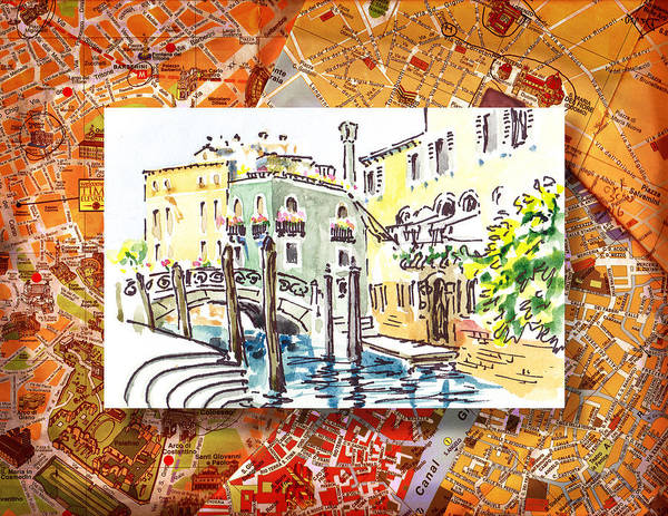 Sketching Painting - Italy Sketches Venice Canale by Irina Sztukowski