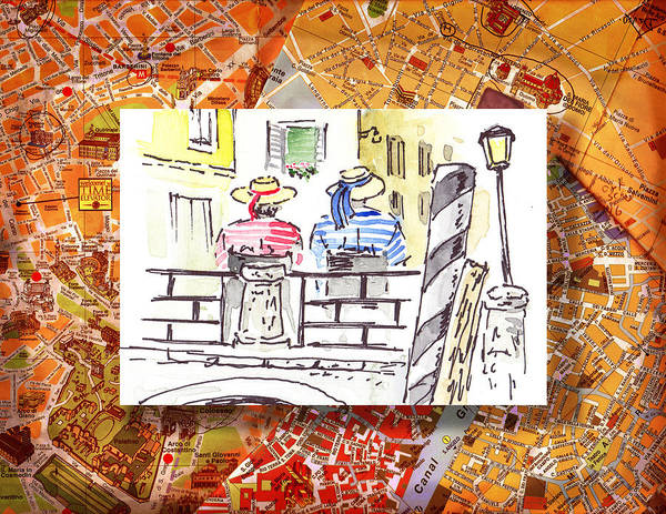 Sketching Painting - Italy Sketches Venice Two Gondoliers by Irina Sztukowski