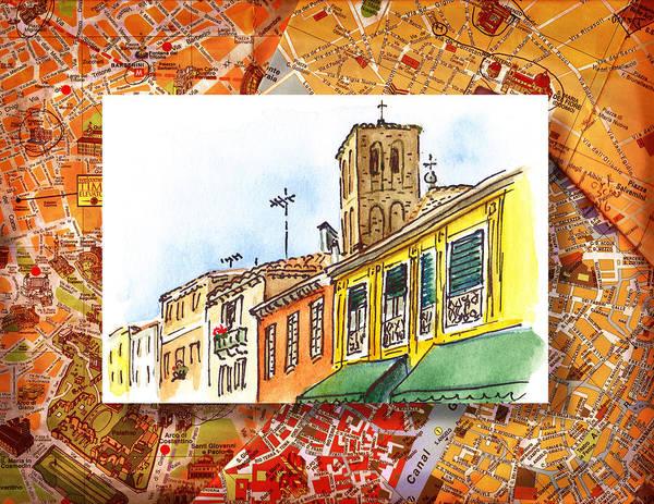 Sketching Painting - Italy Sketches Venice Via Nuova by Irina Sztukowski