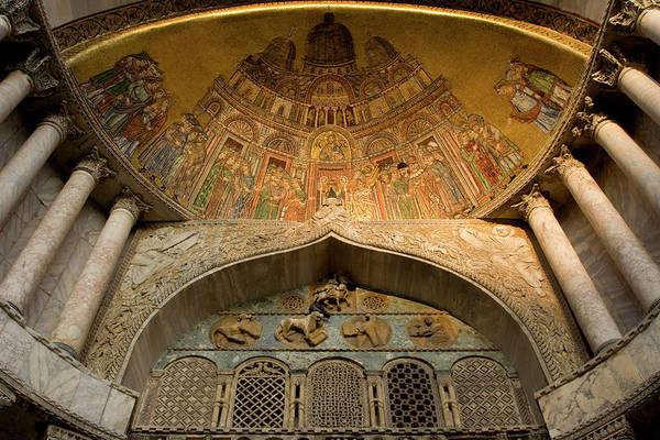 St Mark's Basilica Photograph - Italy, Venice Facade Mosaic- Basilica by Jaynes Gallery