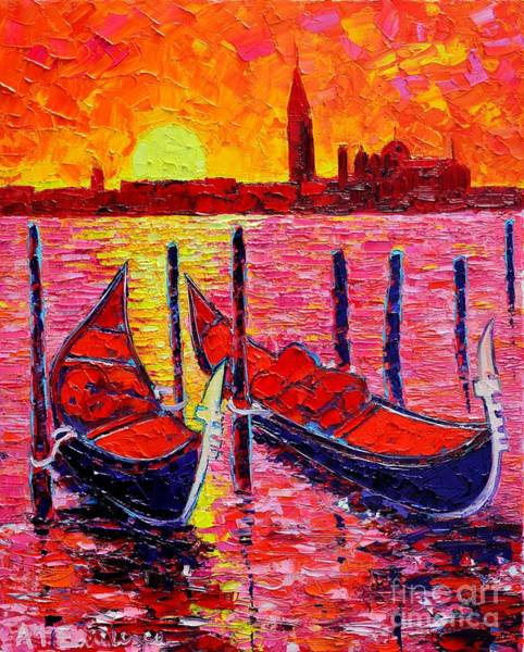 Maria Island Wall Art - Painting - Italy - Venice Gondolas - Abstract Fiery Sunrise  by Ana Maria Edulescu