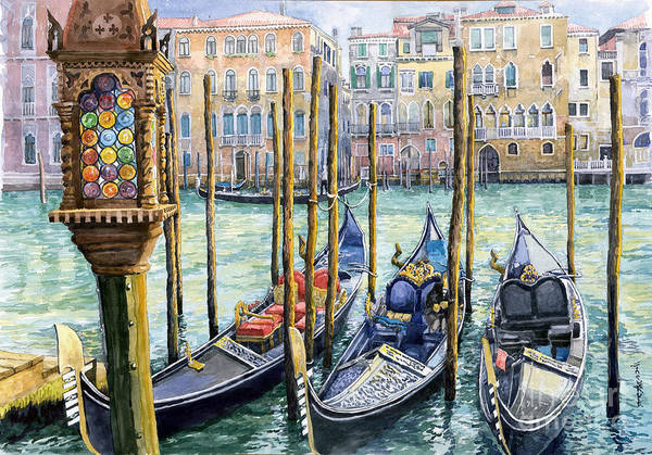 Gondola Painting - Italy Venice Lamp by Yuriy Shevchuk