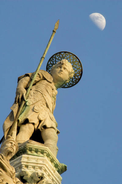 Ie Wall Art - Photograph - Italy, Venice Statue And Moon- Basilica by Jaynes Gallery