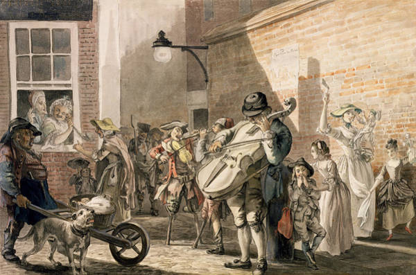 Busker Wall Art - Drawing - Itinerant Musicians Playing In A Poor by Paul Sandby