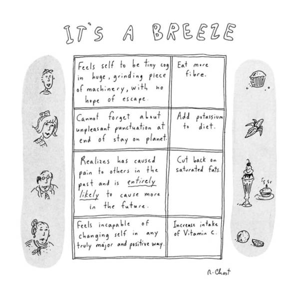 June 24th Drawing - It's A Breeze by Roz Chast