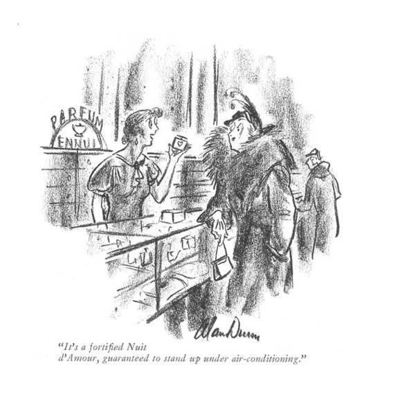 Retail Drawing - It's A Fortified Nuit D'amour by Alan Dunn