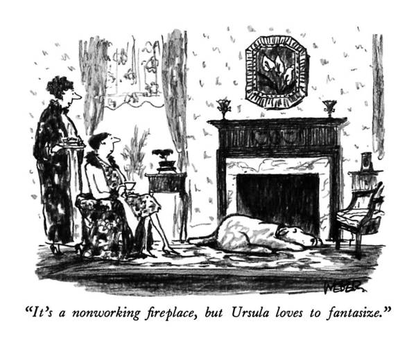 Warmth Drawing - It's A Nonworking Fireplace by Robert Weber