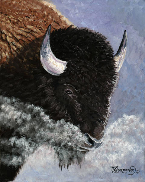 Longhorn Painting - It's Cold by Timithy L Gordon