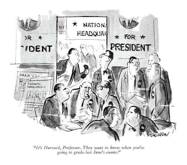 1960 Drawing - It's Harvard by James Stevenson