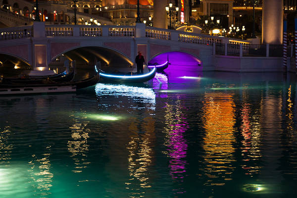 Photograph - It's Not Venice - Brilliant Lights Glamorous Gondolas And The Magic Of Las Vegas At Night by Georgia Mizuleva