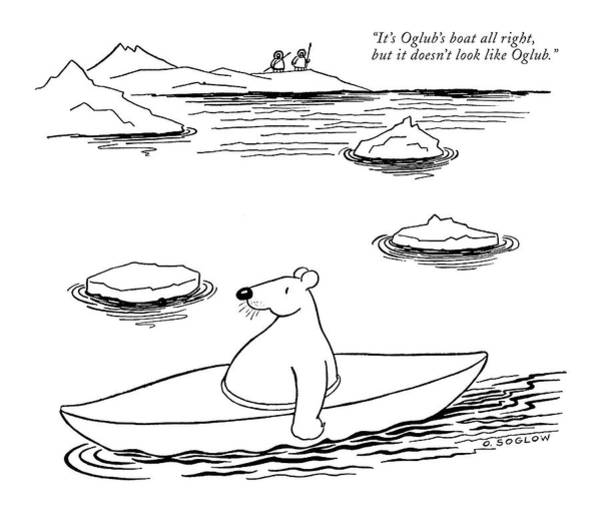 Polar Bear Drawing - It's Oglub's Boat All Right by Otto Soglow