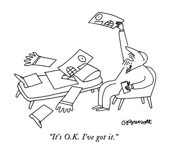 October 5th Drawing - It's O.k. I've Got It by Charles Barsotti