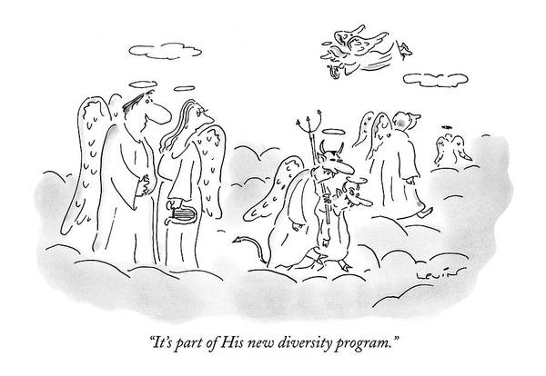 Hiring Drawing - It's Part Of His New Diversity Program by Arnie Levin