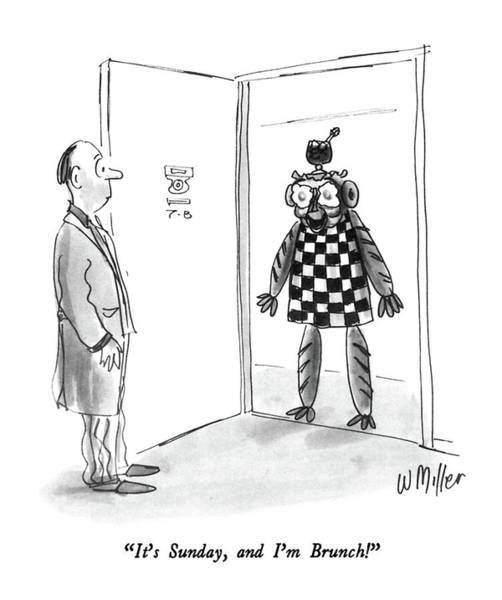 Checker Drawing - It's Sunday by Warren Miller