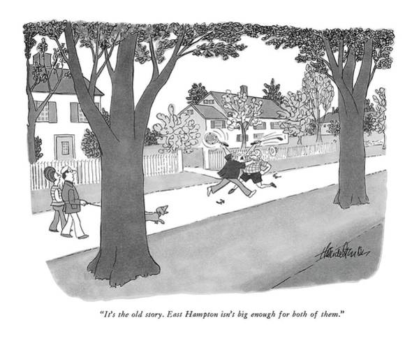 Golf Club Drawing - It's The Old Story. East Hampton Isn't Big Enough by J.B. Handelsman