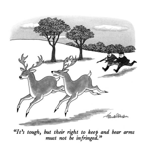 Deer Drawing - It's Tough, But Their Right To Keep And Bear Arms by J.B. Handelsman