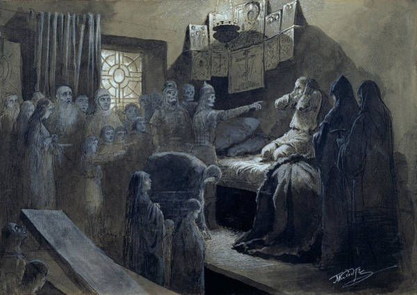 Wall Art - Painting - Ivan The Terrible Visited By The Ghosts Of Those He Murdered by Baron Mikhail Petrovich Klodt von Jurgensburg