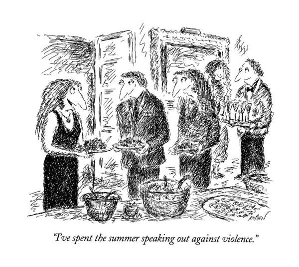 Rich Drawing - I've Spent The Summer Speaking by Edward Koren