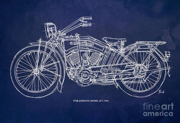 White Background Drawing - Original Handmade Iver Johnson 1915 Blueprint by Drawspots Illustrations