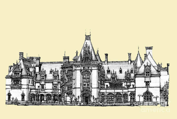Graphics Drawing - Ivory Biltmore Estate by Building  Art