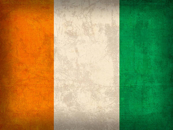 Emblem Mixed Media - Ivory Coast Cote Divoire Flag Vintage Distressed Finish by Design Turnpike