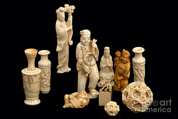 Photograph - Ivory Figurine China Japan by Gunter Nezhoda