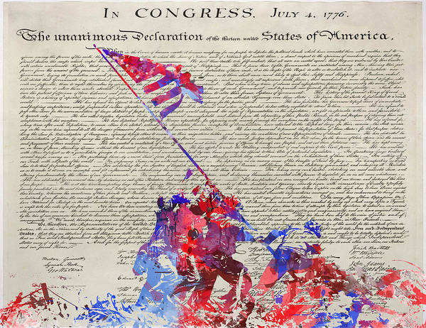 Declaration Of Independence Digital Art - Iwo Jima Declaration Of Freedom by Patricia Lintner