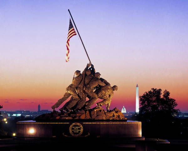 Arlington County Photograph - Iwo Jima Memorial At Dawn, Washington by Panoramic Images