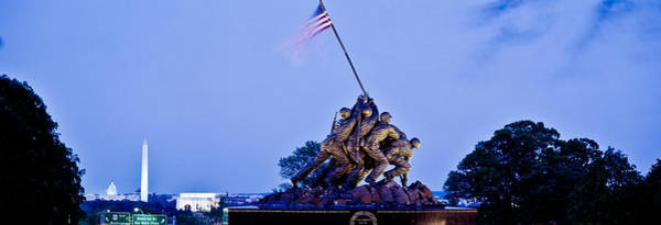 Marine Corps Photograph - Iwo Jima Memorial At Dusk by Panoramic Images