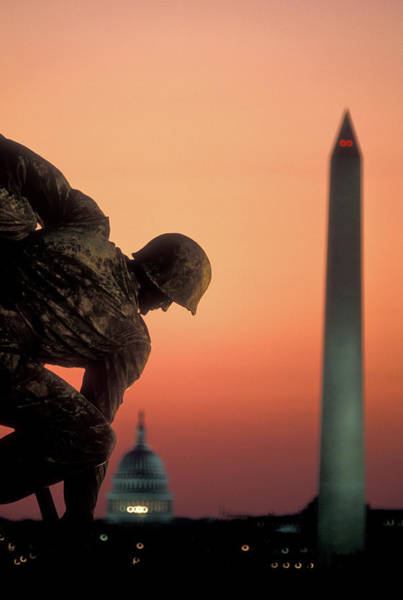 Arlington County Photograph - Iwo Jima Memorial At Dusk, Washington by Panoramic Images
