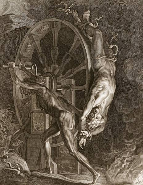 Punishment Wall Art - Drawing - Ixion In Tartarus On The Wheel, 1731 by Bernard Picart